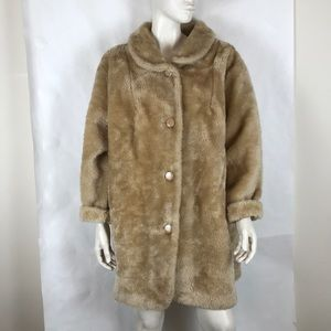 Vtg 80s teddy bear plush faux fur tan coat plus 2X